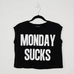Monday Sucks cropped top